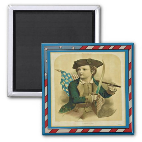 Vintage Young Boy with Flag & Sabre magnet