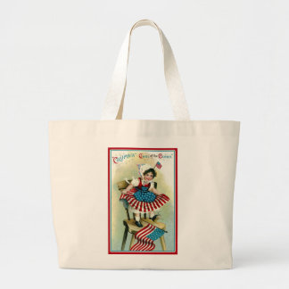 Vintage Young Columbia with Flags Large Tote Bag