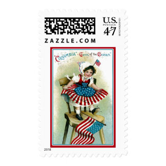 Vintage Young Columbia with Flags Postage