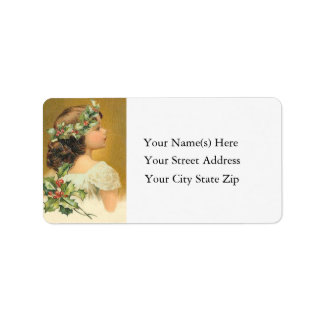 Vintage Young Girl With Holly Christmas Personalized Address Label
