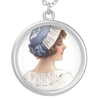 Vintage Young Lady in Bonnet Necklace
