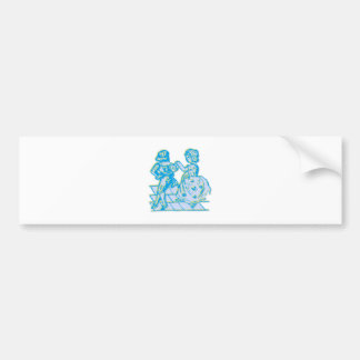 vintage young people of juveniles bumper sticker