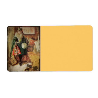 Vintage Young Woman Traveler Shipping Label
