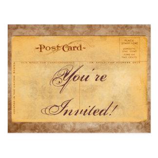 Vintage You're Invited Damask Invitation Postcards