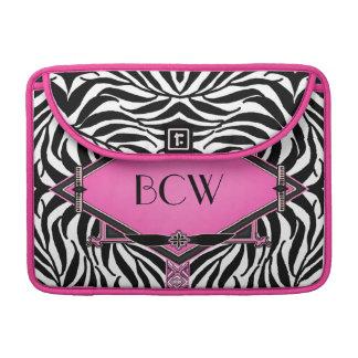 Vintage Zebra Art Deco Pink Diamond Monogram MacBook Pro Sleeves