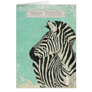 Vintage Zebra Blue Birthday  Card