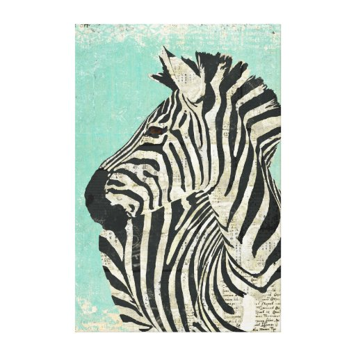 Vintage Zebra Blue Canvas Gallery Wrapped Canvas