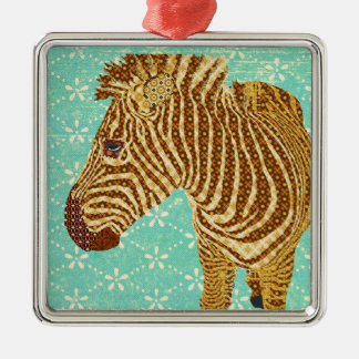 Vintage Zebra Blue Ornament