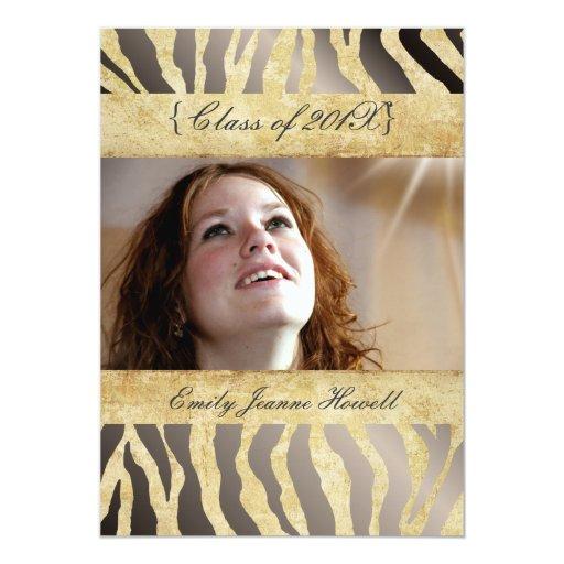 Vintage Zebra/Graduations Party Invitations