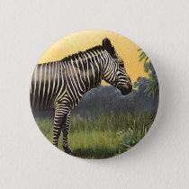 Vintage Zebra in the African Savannah, Wild Animal Button