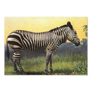 Vintage Zebra in the African Savannah, Wild Animal Card