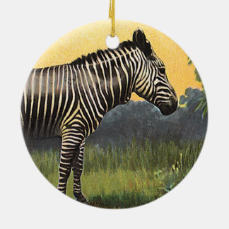 Vintage Zebra in the African Savannah, Wild Animal Ceramic Ornament