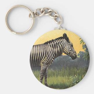 Vintage Zebra in the African Savannah, Wild Animal Keychain