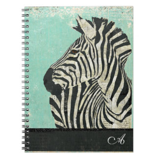 Vintage Zebra Monogram Notebook