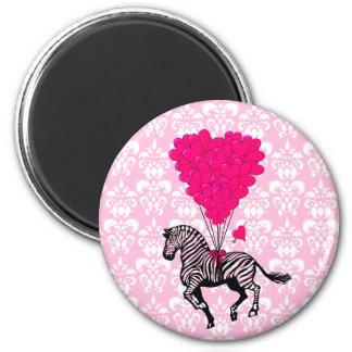 Vintage zebra & pink  heart balloons 2 inch round magnet