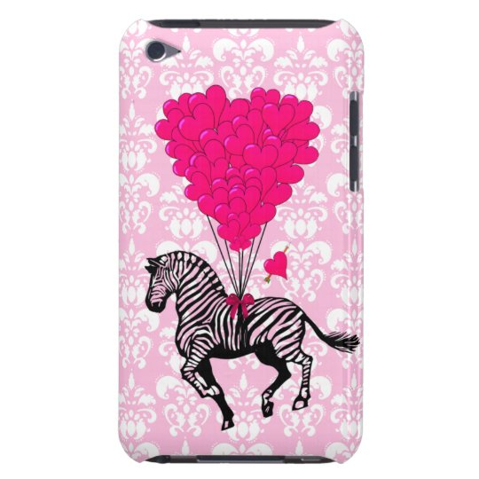 Vintage zebra & pink  heart balloons barely there iPod cover