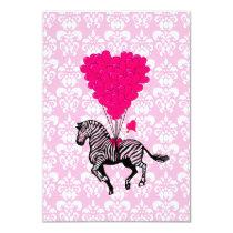 Vintage zebra & pink  heart balloons card