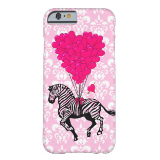 Vintage zebra & pink heart balloons barely there iPhone 6 case