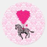 Vintage zebra & pink  heart balloons classic round sticker