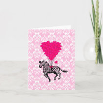 Vintage zebra & pink  heart balloons holiday card