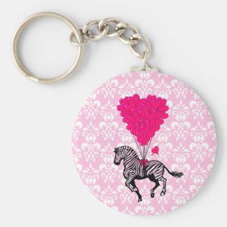 Vintage zebra & pink  heart balloons basic round button keychain