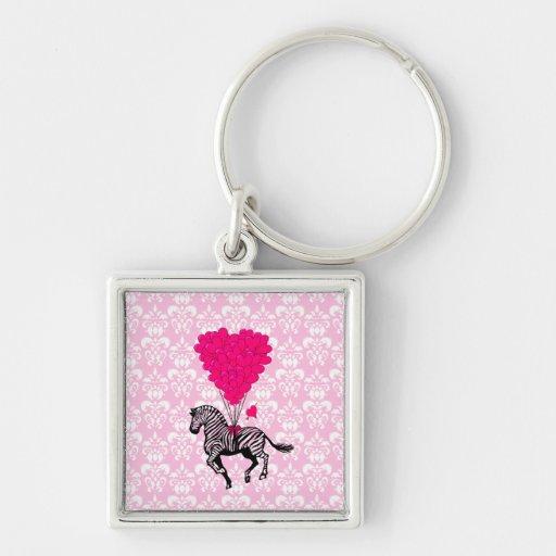 Vintage zebra & pink  heart balloons keychains