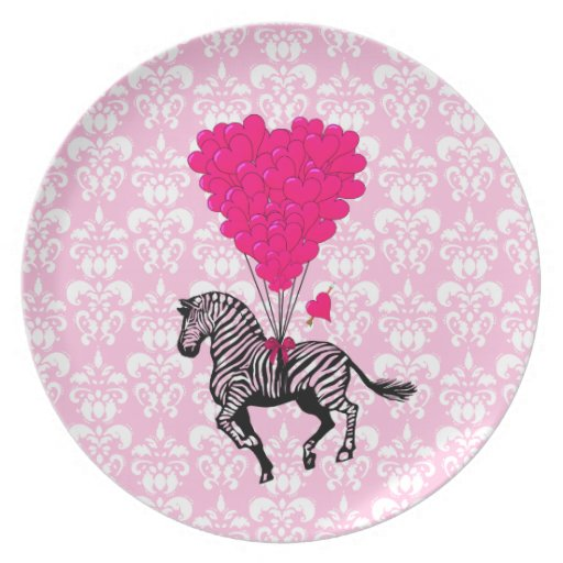 Vintage zebra & pink  heart balloons melamine plate