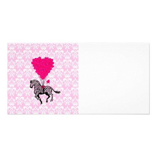 Vintage zebra & pink  heart balloons customized photo card