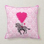 Vintage zebra & pink  heart balloons pillow