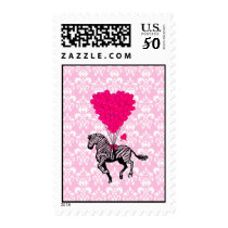 Vintage zebra & pink  heart balloons postage