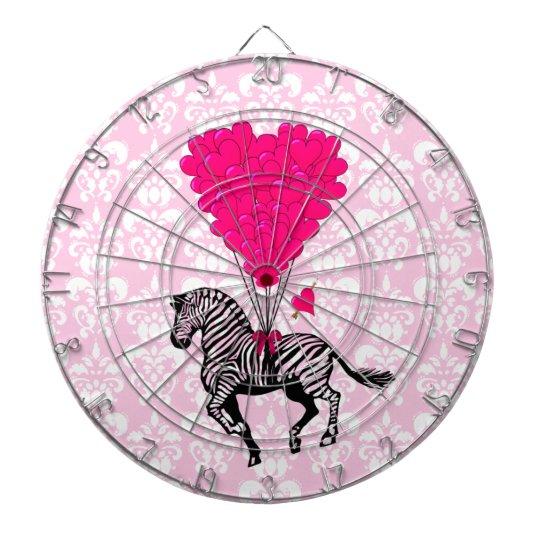 Vintage zebra & pink heart on damask dart board