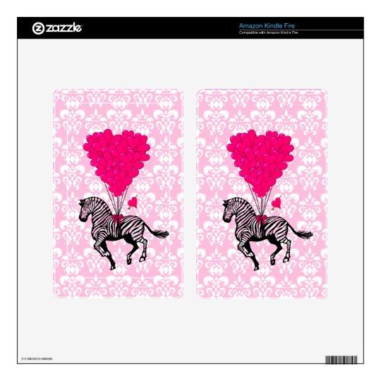 Vintage zebra & pink heart on damask decals for kindle fire