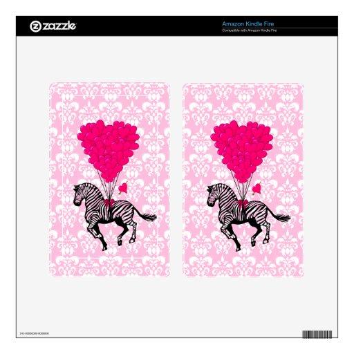 Vintage zebra & pink heart on damask skins for kindle fire