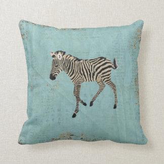 Vintage Zebra Powder Blue Mojo Pillow