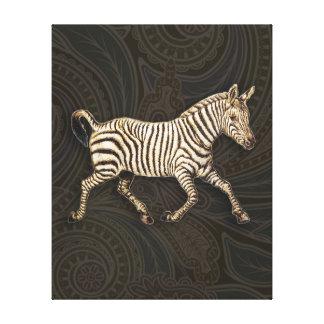 Vintage zebra running with paisley design canvas print