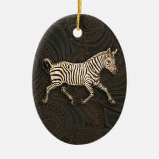 Vintage zebra running with paisley design ceramic ornament