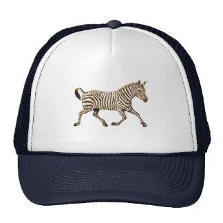 Vintage zebra running with paisley design trucker hat