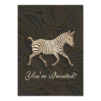 Vintage zebra running with paisley design 4.5x6.25 paper invitation card