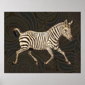 Vintage zebra running with paisley design poster