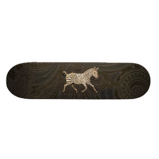 Vintage zebra running with paisley design skateboard
