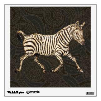 Vintage zebra running with paisley design wall sticker