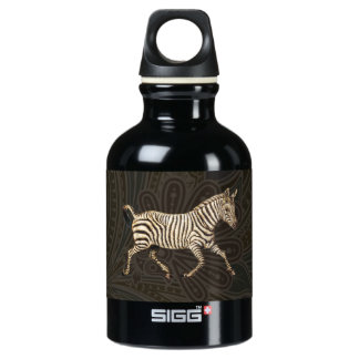 Vintage zebra running with paisley design water bottle