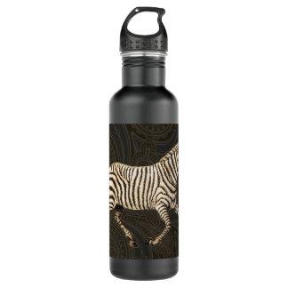 Vintage zebra running with paisley design water bottle