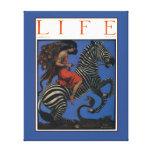 Vintage Zebra with Art Nouveau Woman Rider Stretched Canvas Print
