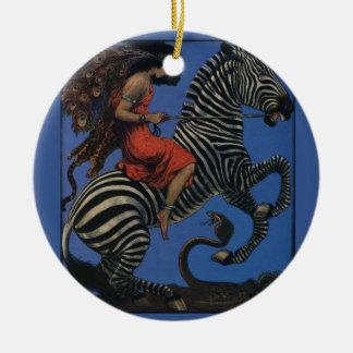 Vintage Zebra with Art Nouveau Woman Rider Ceramic Ornament
