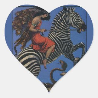 Vintage Zebra with Art Nouveau Woman Rider Sticker