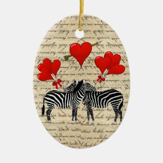 Vintage zebras and heart ceramic ornament