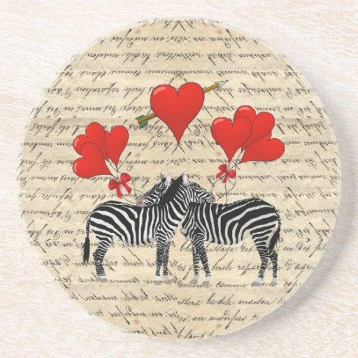 Vintage zebras and heart drink coaster