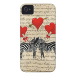 Vintage zebras and heart iPhone 4 cover