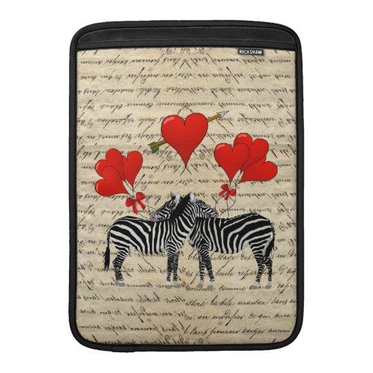 Vintage zebras and heart MacBook sleeve